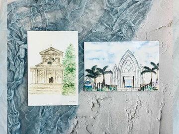 : Watercolour church print postcard set