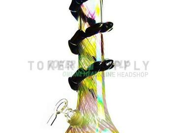 """Post Now: 16"""" Puddle Base Colored Glass Water Pipe"""
