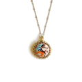 Selling: Gorgeous Beaded Orange and Blue Painted Lady Pendant Necklace