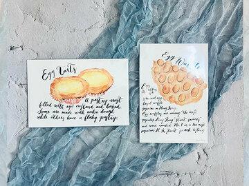 : Watercolour Hong Kong local food, egg waffle, egg tarts set