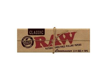 Post Now: RAW Classic Connoisseur Rolling Papers with Tips - 1¼