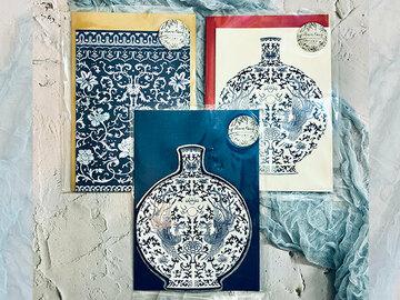 : (3 pcs set) Porcelain illustrated pattern A5 card with envelope