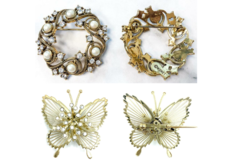 Liquidation/Wholesale Lot: 50 pcs MONET BROOCHES Crystal Butterfly & Crystal & Pearl Swirl
