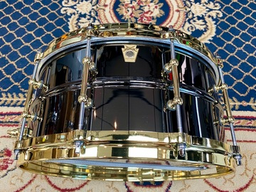 """Selling with online payment: Ludwig LB417BT """"Brass On Brass"""" Black Beauty 6.5x14"""" Snare Drum w"""