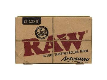 Post Now: RAW Classic Artesano Rolling Papers with Tray & Tips - 1¼