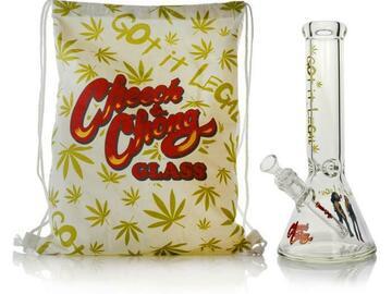 """Post Now: Cheech & Chong Glass 12"""" Tall Got It Legal Commemorative Beaker T"""