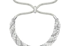 Liquidation/Wholesale Lot: 24 pc Swarovski Elements Fancy Slider Bracelets- Silver Overlay