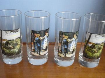 Vente: 4 verres Renoir et Cézanne - parfait état -