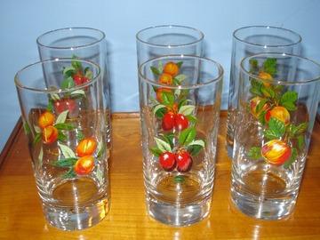 Vente: 6 verres à jus de fruit décorés - Etat neuf -