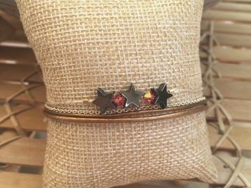 Sale retail: Bracelet multi-rangs cuir et argent