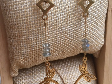 Sale retail: Boucles d'oreilles pendantes acier inoxydable et labradorites