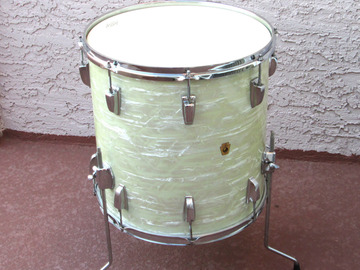 """Selling with online payment: LUDWIG VINTAGE 1964  16"""" FLOOR TOM WHITE MOTHER PEARL WMP RESTORE"""