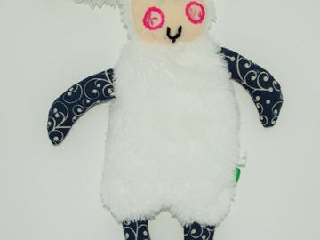 Vente au détail: Doudou mouton blanc - bleu foncé