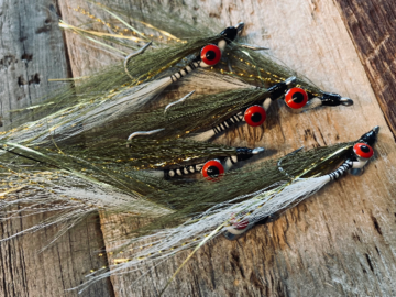 Selling with online payment: Handmade Clouser Minnow Olive & White (6 per pack)