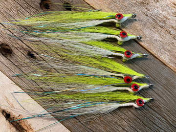 Selling with online payment: Handmade Clouser Minnow Chartreuse & White (6 per pack)