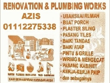 Services: plumbing dan renovation 01112275338 azis saville melawati