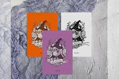 : Halloween Cockatiel Postcards, Parrot illustration