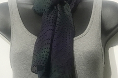 """Selling with online payment: Hand Dyed Silk and Rayon Scarf 8"""" x 54"""" Dots Dark Navy Mix"""