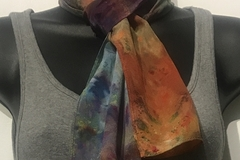 """Selling with online payment: Hand Dyed Ice Dyed Silk Crepe Scarf in Multicolors 8"""" x 54"""""""