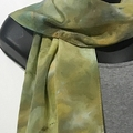"""Selling with online payment: Hand Dyed Ice Dyed Silk Crepe Scarf in Cosmic Greens 14"""" x 72"""""""