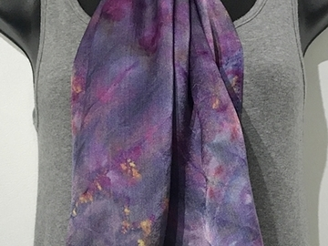 """Selling with online payment: Hand Dyed Ice Dyed Silk Satin Scarf in Cosmic Purples 14"""" x 72"""""""