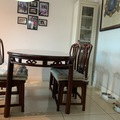 Selling with online payment: Rose-sandalwood dining table with 4 chairs