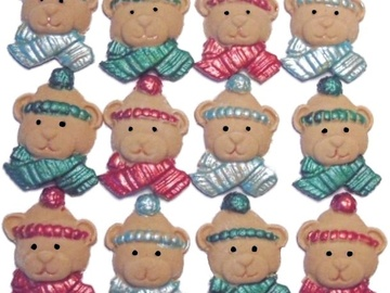 Delivery: 12 Edible Christmas Bear Faces Cupcake Toppers
