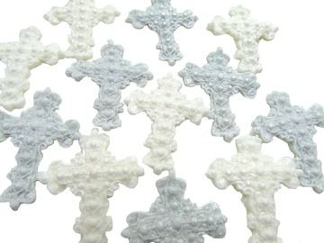 Delivery: 12 Edible Glittered Crosses Cupcake Cake Toppers
