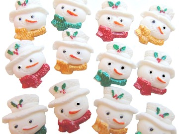 Delivery: Christmas Snowmen Faces Cupcake Cake Toppers