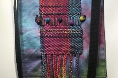 """Selling with online payment: Hand Dyed Shoulder Bag with Hand Woven Applique 10"""" x 11"""""""