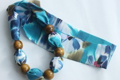 : Teal print Silk Scarf Necklace