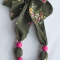 : Green Silk Scarf Necklace