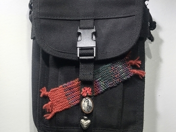 Selling with online payment: Black Military Bag with Hand Woven Applique Frida Kahlo