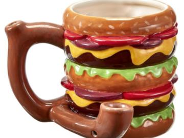 Post Now: Double Mac - Cheeseburger Ceramic Pipe Mug