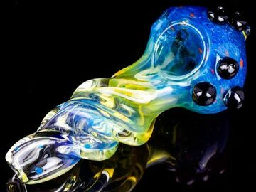 """Post Now: Smoke King - 6"""" Heavily Golden Fumed 24KT Fritted Glass Pipe - Bl"""