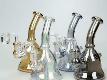 """Post Now: 6"""" 2-in-1 fixed 3 hole diffuser bell Metallic tinted bubbler"""
