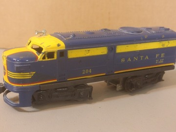 Selling with online payment: Lionel Blue Alco Santa Fe Running, Shell in rough condition