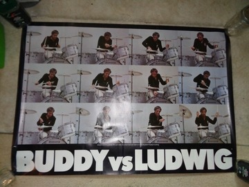 """VIP Members' Sales Only: Buddy Rich paper poster, 24"""" x 34"""".  Full color 12 section Ludwig"""