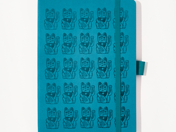 : Lucky Cat Notebook - Turquoise