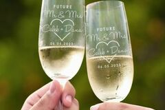 Buy: Engraved Engagement Champagne Glass