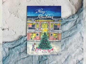 : Watercolour Hong Kong Tai Kwun Christmas post card