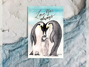 : Winter watercolour Emperor Penguin we love you post card