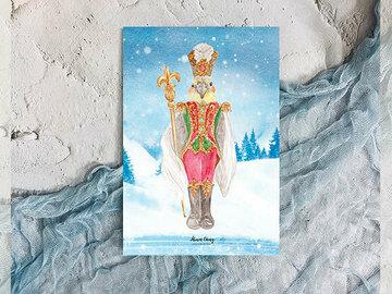 : Christmas cute parrot nutcracker winter post card
