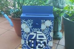 : Mailbox : Good fortune & lanterns on blue background