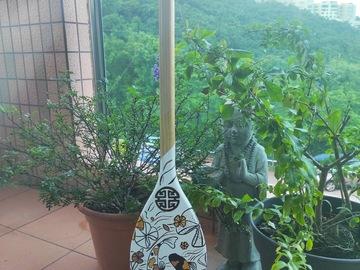 : Decorative Paddle/Oar - Carpe Koi White/Gold/Bronze. White