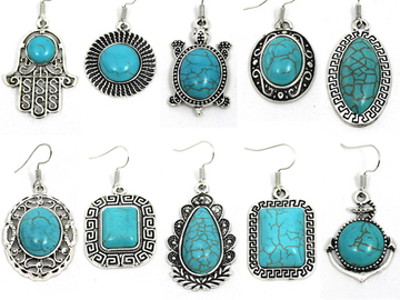 Buy Now: (200) Simulated Turquoise Earrings Wholesale Jewelry