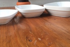 Selling: £15 for 12 WHITE PORCELAIN 16 cm SQUARE ROUNDED BOWLS