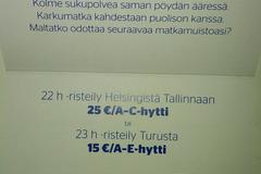 Myydään: Helsinki- Tallin-Helsinki cruise voucher