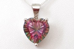 For Sale-Pay Online: FACETED MYSTIC FIRE TOPAZ 925 STERLING SILVER HEART NECKLACE