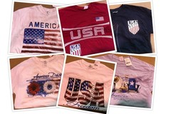 Selling: 100 NWT Mens & Womens Patriotic T-Shirts MSRP $1500